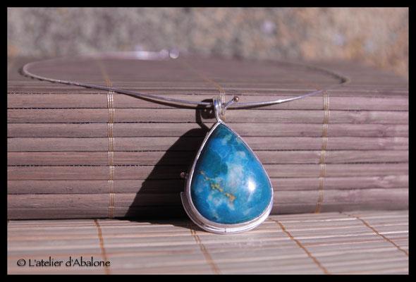 2.Pendentif Turquoise goutte , Argent 925, 58 euros