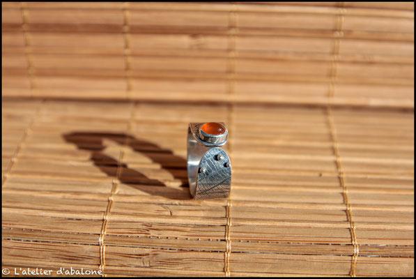 136.Bague Cornaline ovale, Argent 925, 56 euros