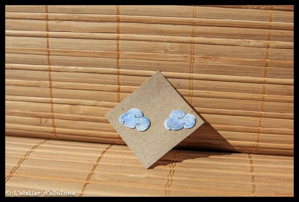 63.Boucle d'oreille stud nuage, Argent 925, 33 euros
