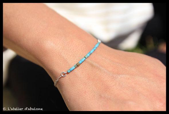 2.Bracelet chaine perle de turquoise,  Argent massif, 30 euros