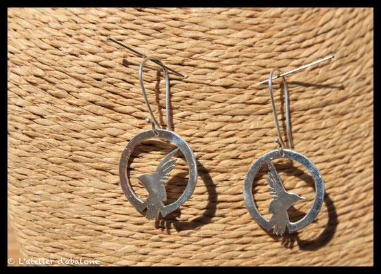 58.Boucle d'oreille Colibri, Argent 925, 48 euros