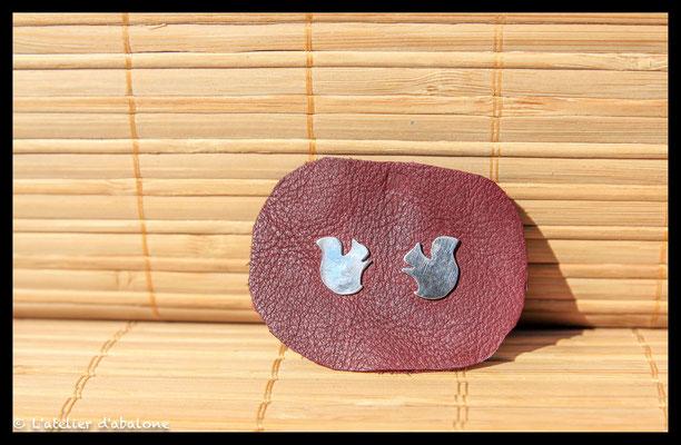 69.Boucle d'oreille stud écureuil, Argent 925, 33 euros
