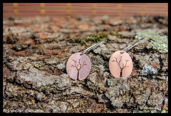 85. Boucle d'oreille arbre Cuivre , Argent 925, 37 euros
