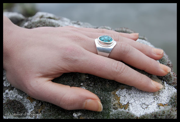 53.Bague Turquoise ovale, Argent 925, 62 euros