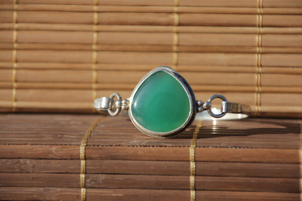 4.Bracelet Agate verte poire, Argent 925, 62 euros