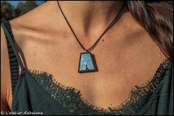 16.Pendentif Arbre et bois d'Ebène, Argent 925, 43 euros
