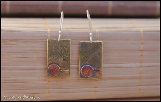 25.Boucle d'oreille laiton CU, Argent 925, 37 euros