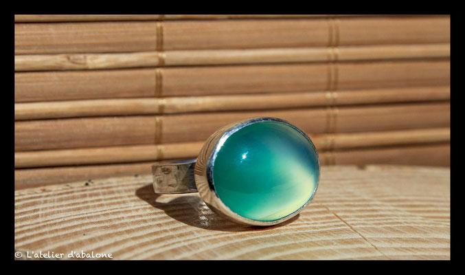166. Bague Agate verte ovale , Argent massif, 50 euros