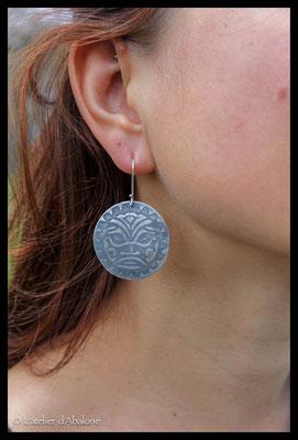 2.Boucle d'oreille grand masque maya, Argent 925, 59 euros
