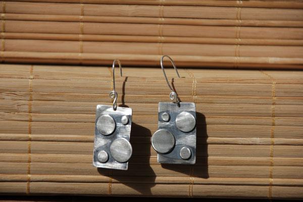 43.Boucle d'oreille rond soudé, Argent 925, 42 euros