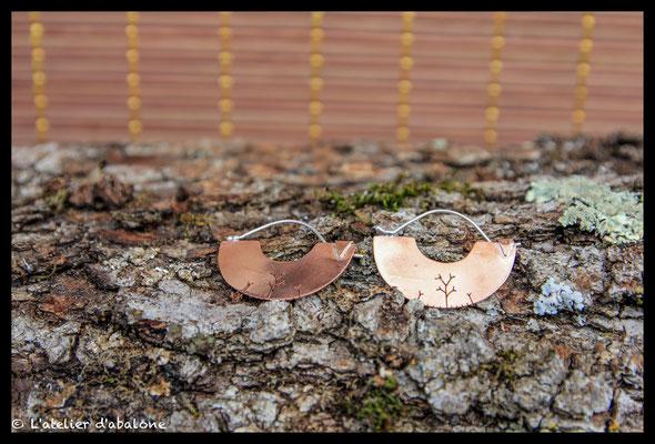 80. Boucle d'oreille demi créole cuivre branche, Argent 925, 39 euros