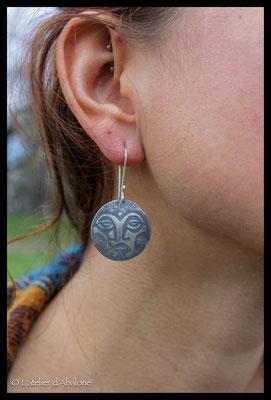 3.Boucle d'oreille petit masque maya, Argent 925, 48 euros