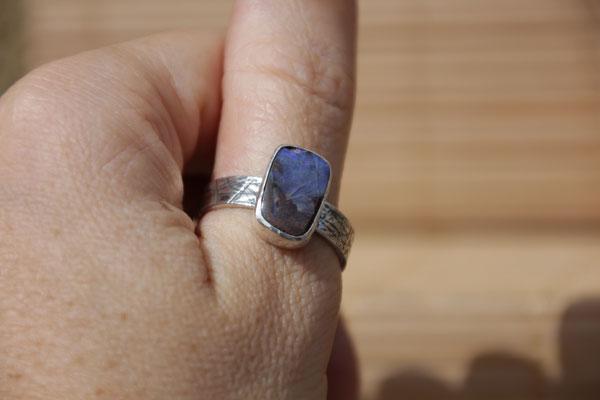 90.Bague Opale boulder rectangle, Argent 925, 64 euros