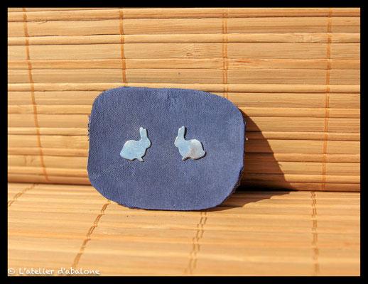 72.Boucle d'oreille stud lapin, Argent 925, 34 euros