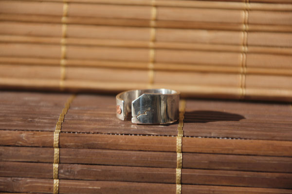 38.Bague branche open point cuivre, Argent 925, 54 euros