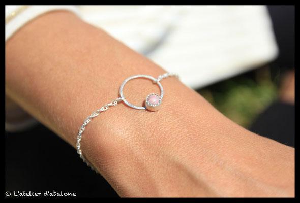 5.Bracelet chaine rond rhodochrosite,  Argent massif,  38 euros