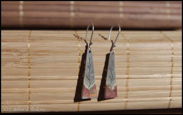 8.Boucle d'oreille AR arbre bas CU oxydé, Argent 925, 36 euros