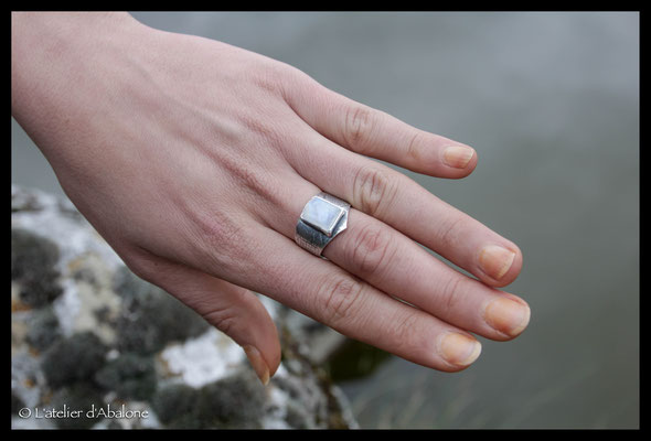 49.Bague P.de lune rectangle, Argent 925, 67 euros