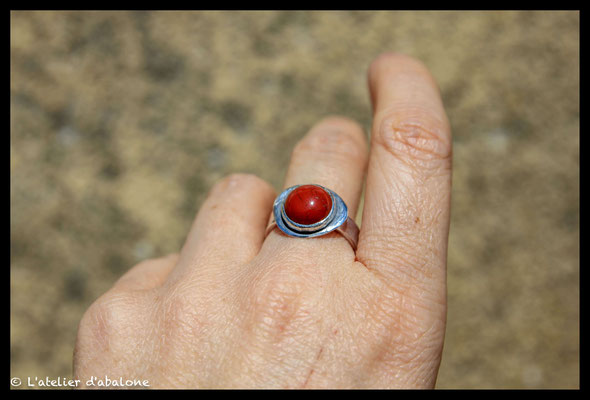 161. Bague Jaspe rouge , Argent massif, 49  euros