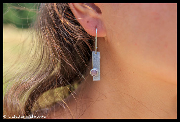 26.Boucle d'oreille rectangle rhodocrosite, Argent massif, 41  euros.