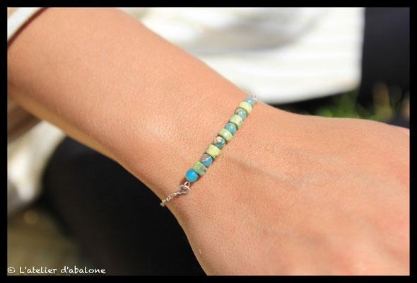 1.Bracelet chaine serpentine et jaspe aqua terra,  Argent massif, 33 euros