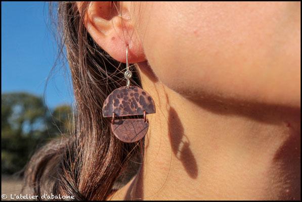49.Boucle d'oreille demi rond double, Argent 925, cuivre pur, 32 euros