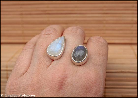 144.Bague P. de lune et Labradorite, Argent 925, 68 euros