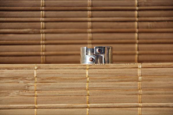 31.Bague escalier point cuivre, Argent 925, 56 euros
