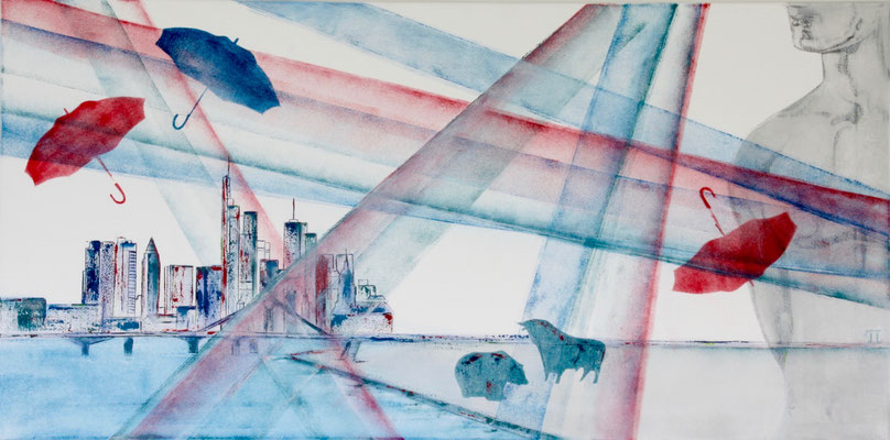 'R€ttungsschirme', Acryl auf Leinwand,50 x 100 cm