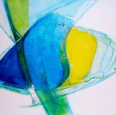 'greenfieedelity', Mischtechnik auf LW, 100 x 100 cm