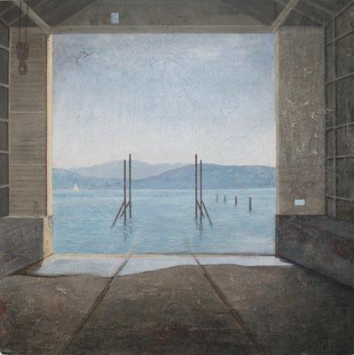 'Seebühne', Mischtechnik auf Spanplatte, 100 x 100 cm