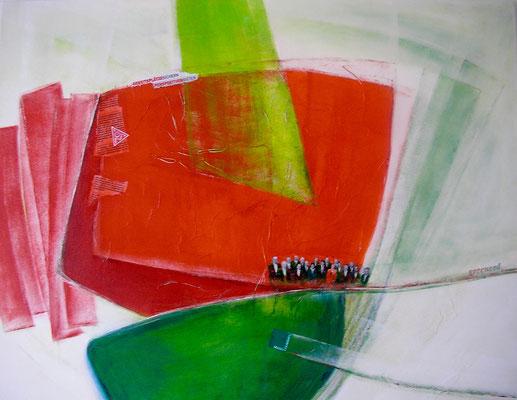 'greenred', Mischtechnik auf Leinwand, 80 x 100 cm