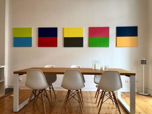 'modern colours', Acryl auf Leinwand, je 50 x 50 cm