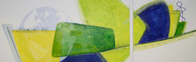 'cleanworld', Mischtechnik auf Leinwand, 100 x 300 cm