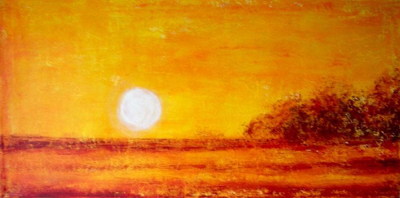 'Sonnenaufgang', Acryl auf Leinwand, 50 x 100 cm
