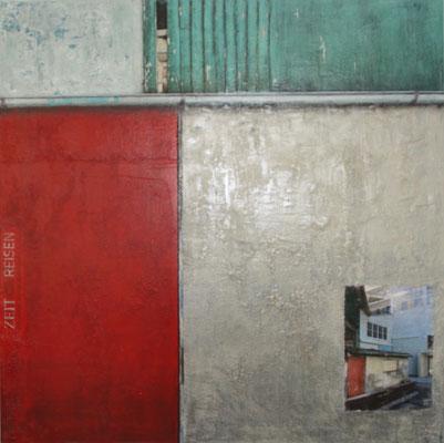 'Zeitreisen', Mischtechnik auf Leinwand, 100 x 100 cm