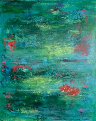 'Lac en vert', Lack auf Leinwand 100 x 80cm
