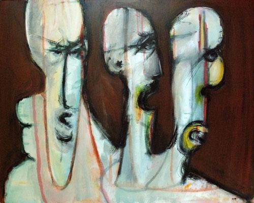 Les trois garces - 100 x 80 - Acrylique sur toile - 2005