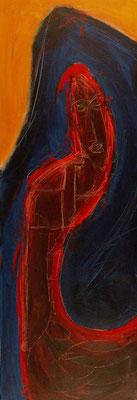 Autoportrait déconfit - 30 x 90 - Acrylique sur toile - 2006