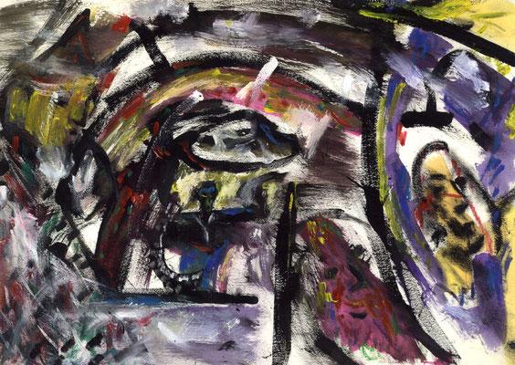 La caverne - 42 x 30 - Mixte sur papier - 1988