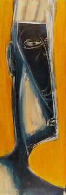 Autoportrait en bleu - 30 x 90 - Acrylique sur toile - 2006
