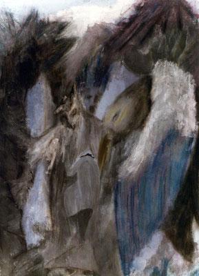 La vision de Prométhée - 45 x 55 - Mixte sur carton - 1984
