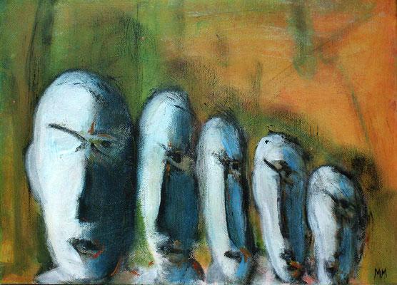 Réfugiés - Moai - 46 x 33 - Acrylique sur toile - 2005