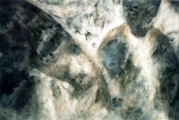 Têtes - 150 x 95 - Acrylique sur carton - 1984