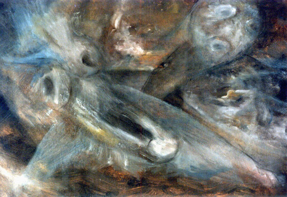 Lamentations - 50 x 35 - Huile sur carton - 1985
