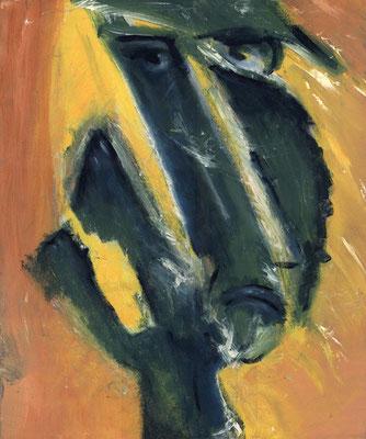 Uppercut ou Madda en col?re - 46 x 55 - Acrylique sur toile - 1996