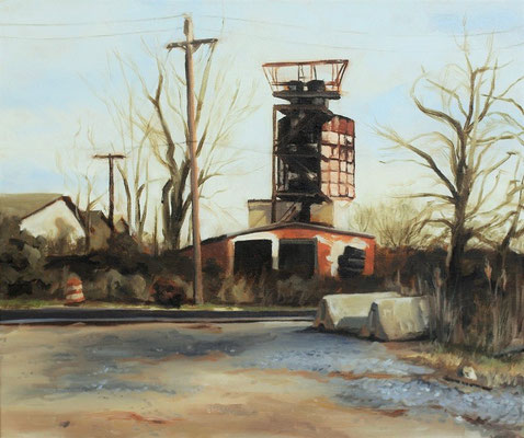 Rusty Tower at Craighead Road, Oil paint on canvas, 50 x 60 cm