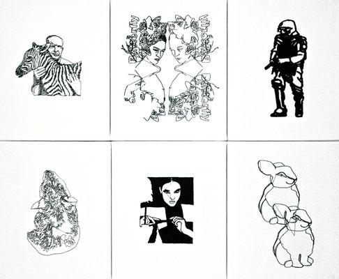 O. T., 2012. (Maschinenstickerei auf Köper; Kombination von sechs Stickbildern, je 30 x 24 cm)