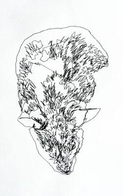 Detail. O. T., 2011.  (Maschinenstickerei auf Köper, 30 x 24 cm)