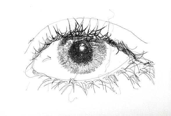 Auge, 2012. (Maschinenstickerei auf Köper, 60 x 80 cm)